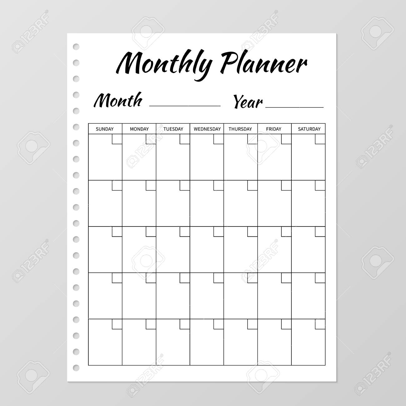 Monthly Planner Template. Blank White Notebook Page Isolated.. pertaining to Free Blank Monthly Planner Templates