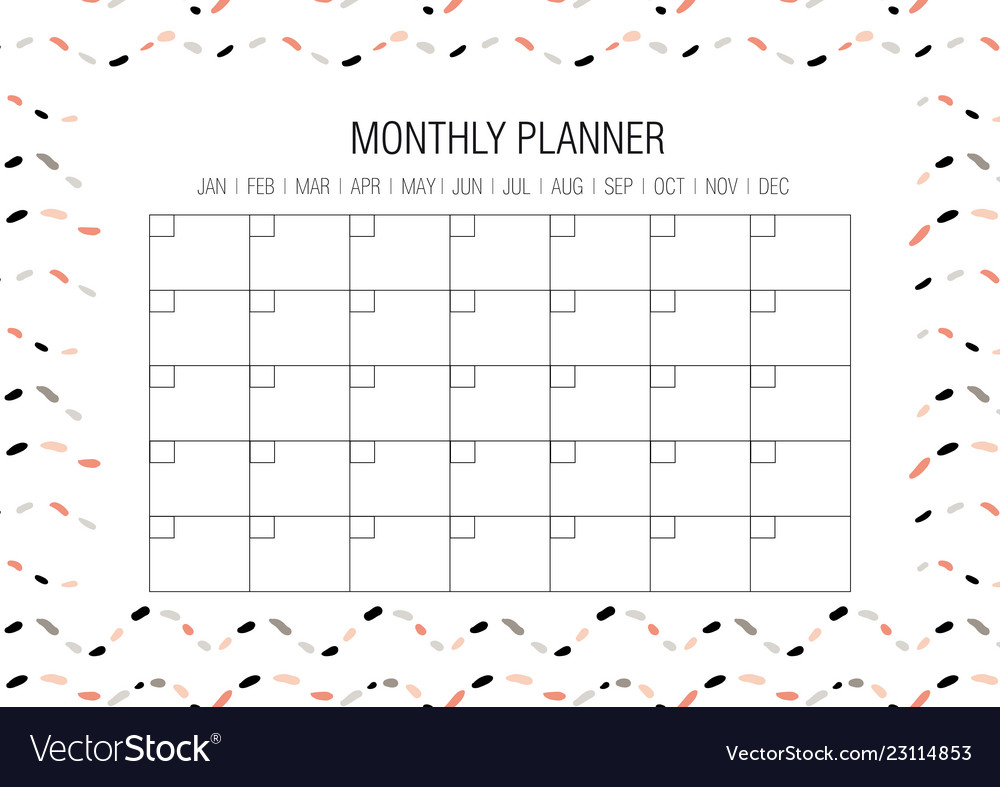 Monthly Planner Template inside Doodle Monthly Planner Printer Templates