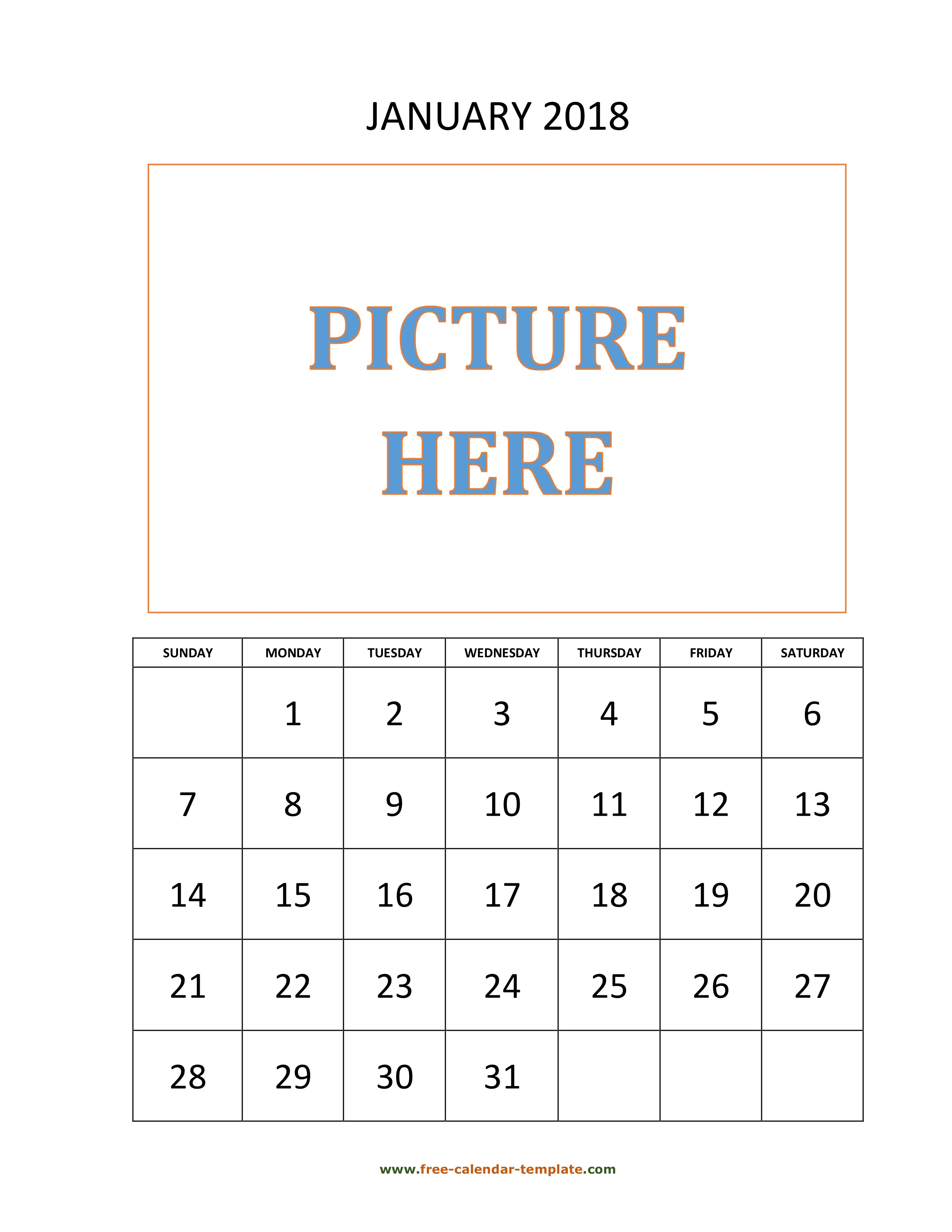 Monthly Printable 2018 Calendar, Space For Add Picture (Vertical with regard to Free Monthly Calendar Templates 4X6