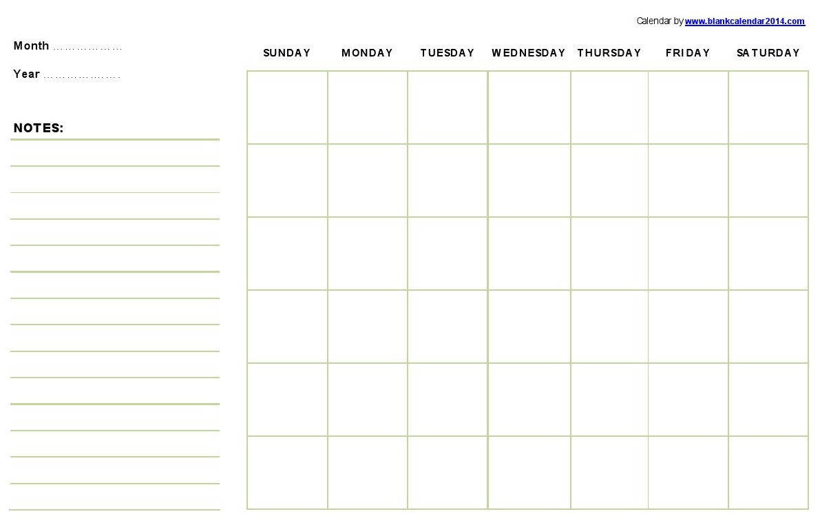 Monthly-Printable-Calendar-Template with regard to Blank Printable Calendar By Month With Notes
