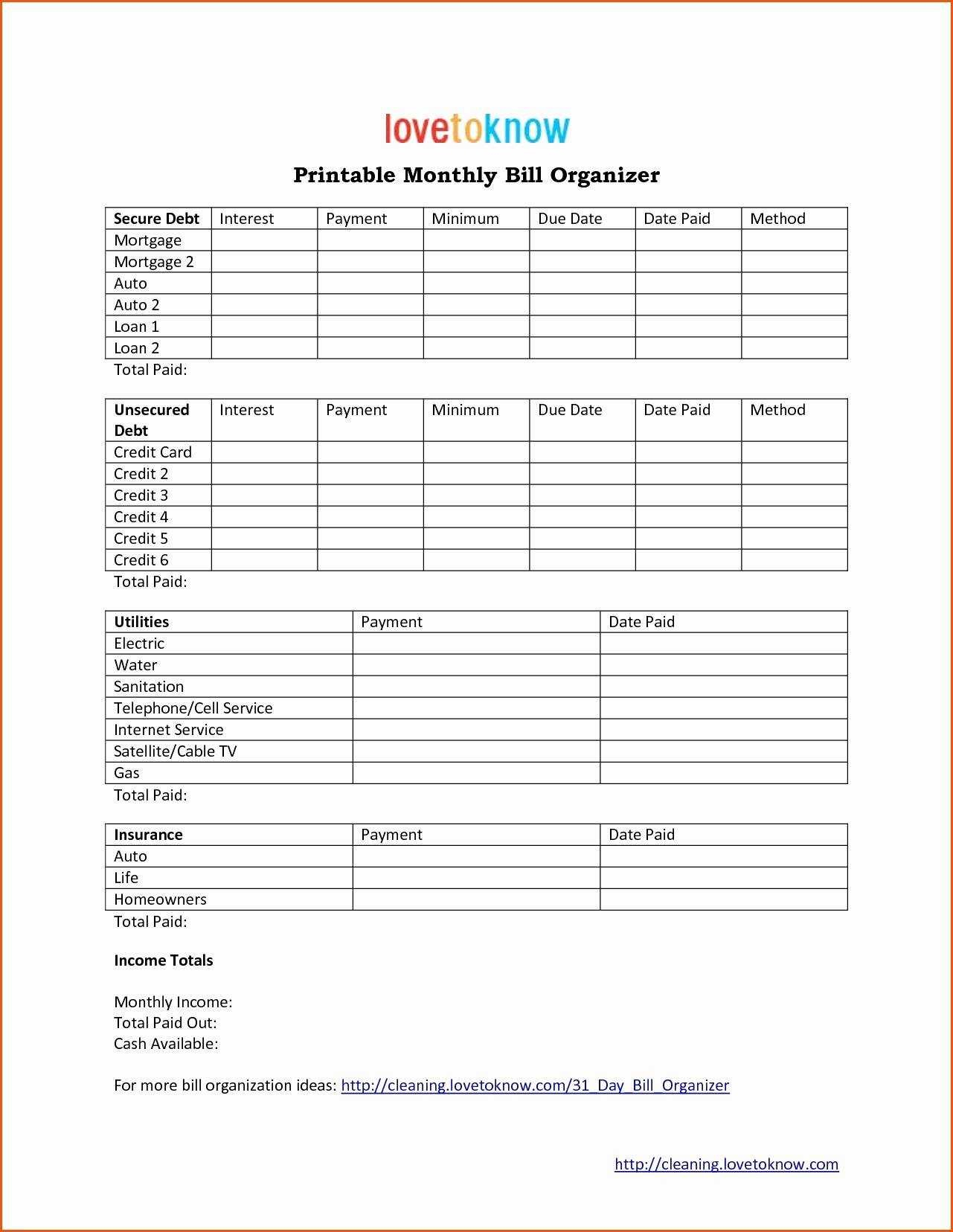 Monthly Profit And Loss Statement Template And Bill Pay Calendar with regard to Free Printable Bill Payment Template