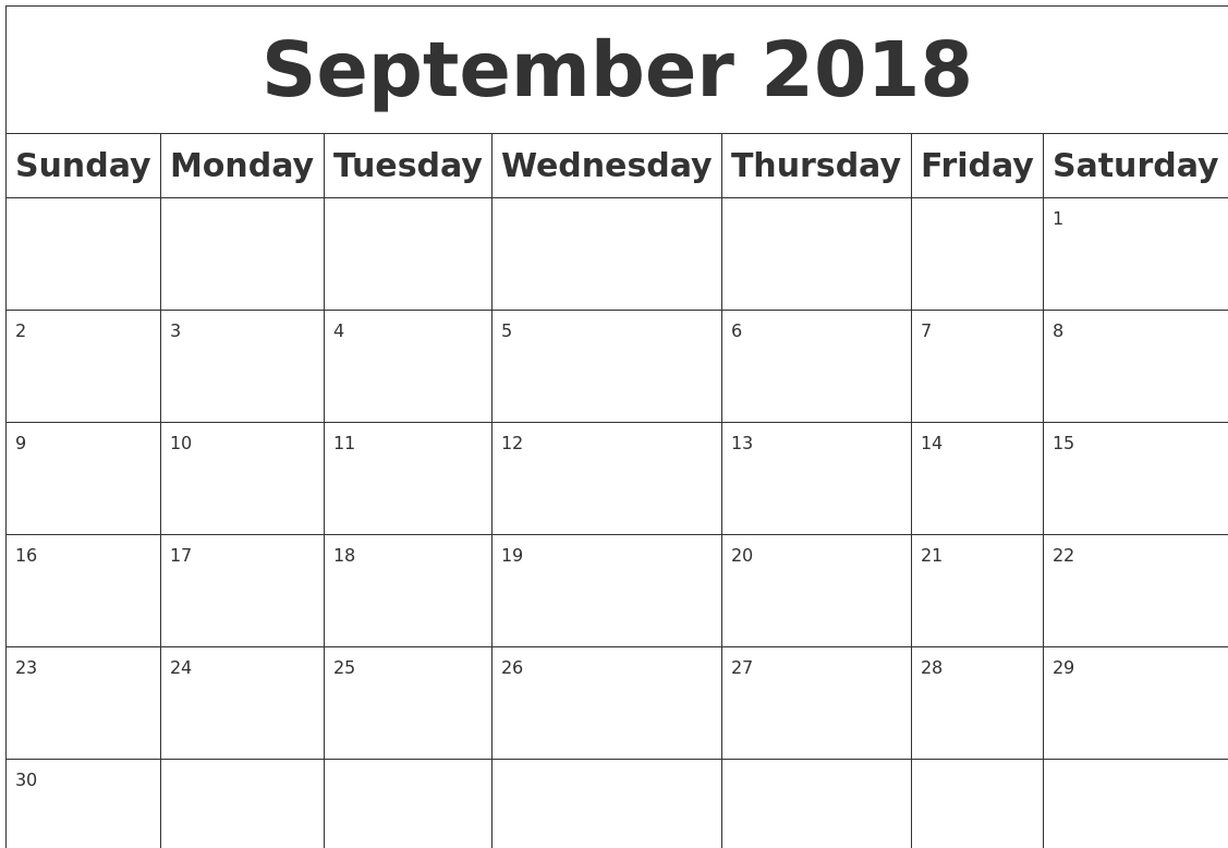 Monthly September 2018 Calendar Word | Calendar September 2018 regarding Blank Calendar Month By Month