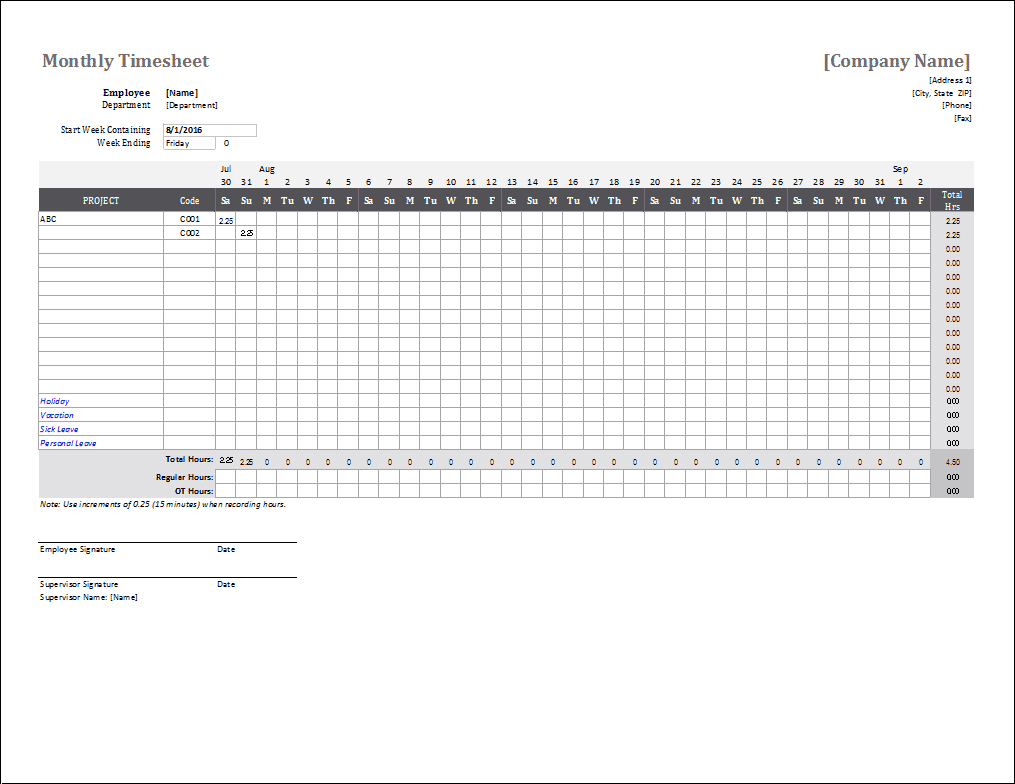 Monthly Timesheet Template For Excel And Google Sheets pertaining to Day Care Attendance Sheet Template