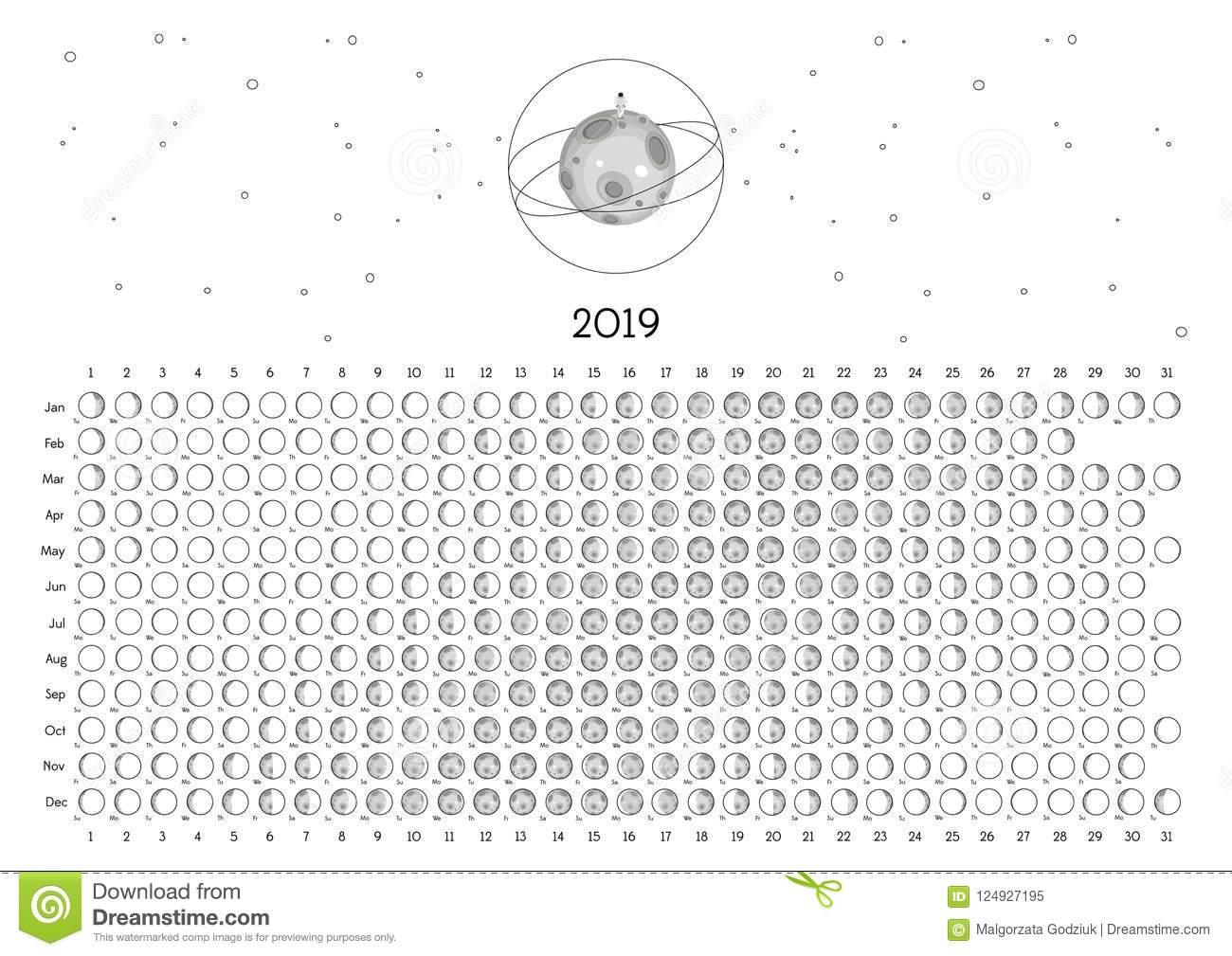 Moon Calendar 2019 Southern Hemisphere Stock Illustration pertaining to Full Moon Calendar 2019 Printable October