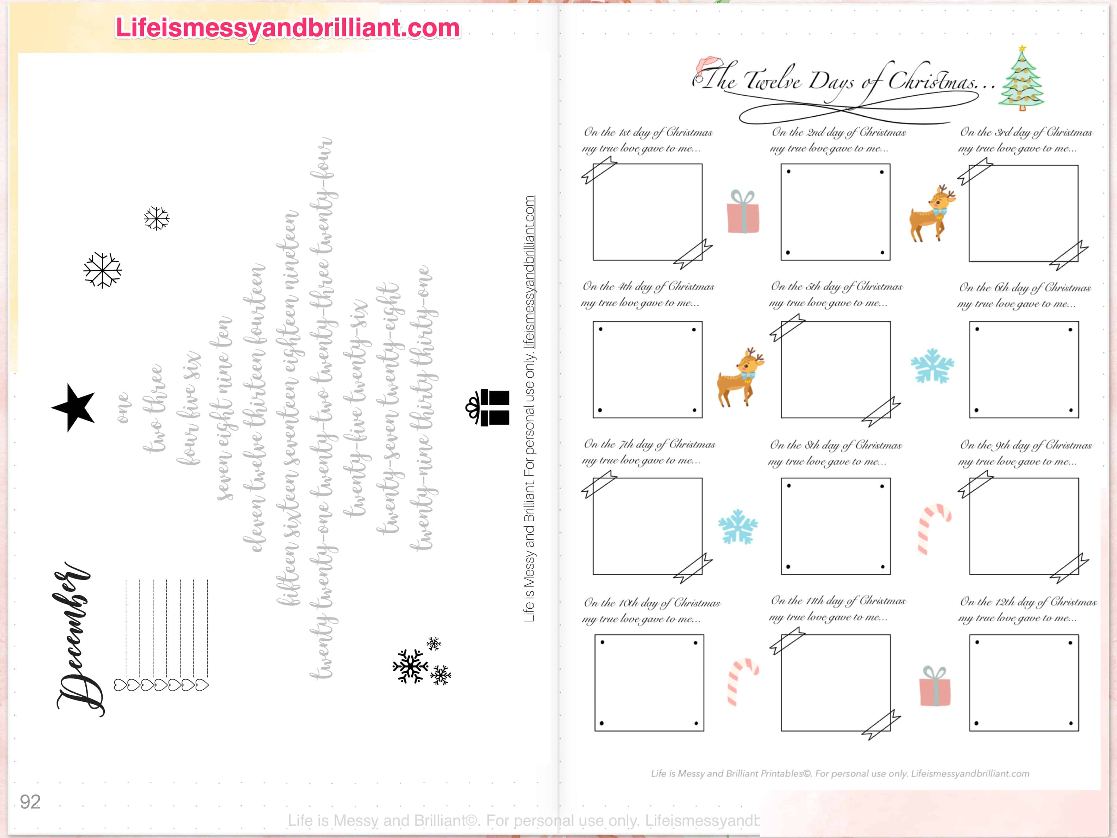 My December Digital Planner Layout regarding Template For 12 Days Of Christmas