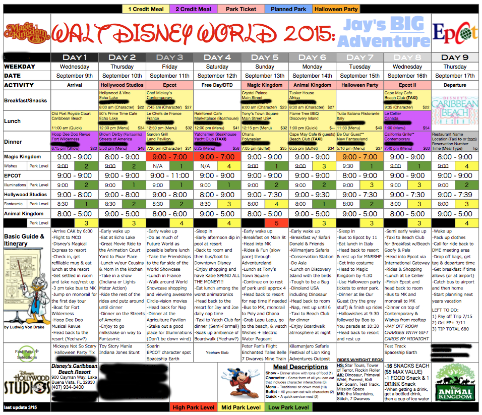 My Obsessed Husband Works On This From The Day We Get Back From A throughout Disney World Itinerary Template Blank