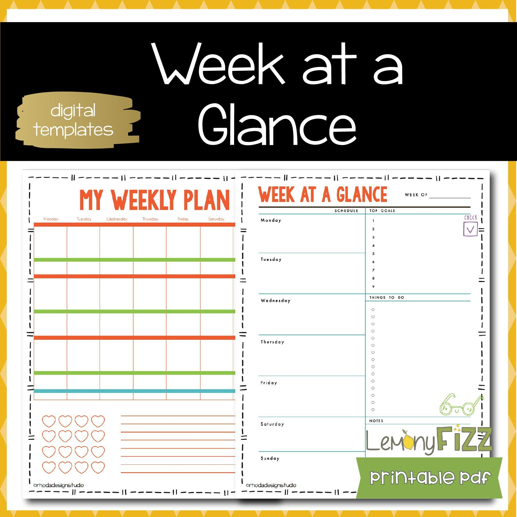 My Weekly Planner Template Schedule Week At Glance Schedules And for Schedule At A Glance Template