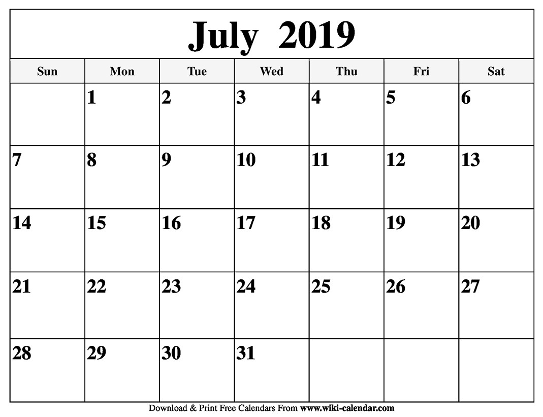 National Day Calendar For July 2019 | Calendar Template pertaining to National Day Calendar Blank