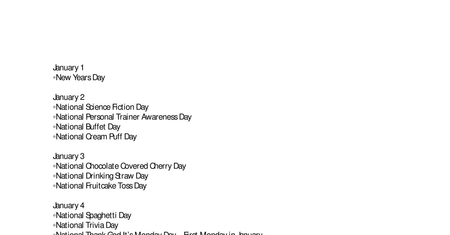 National Day Calendar.pdf | Docdroid throughout National Day Calendar Blank