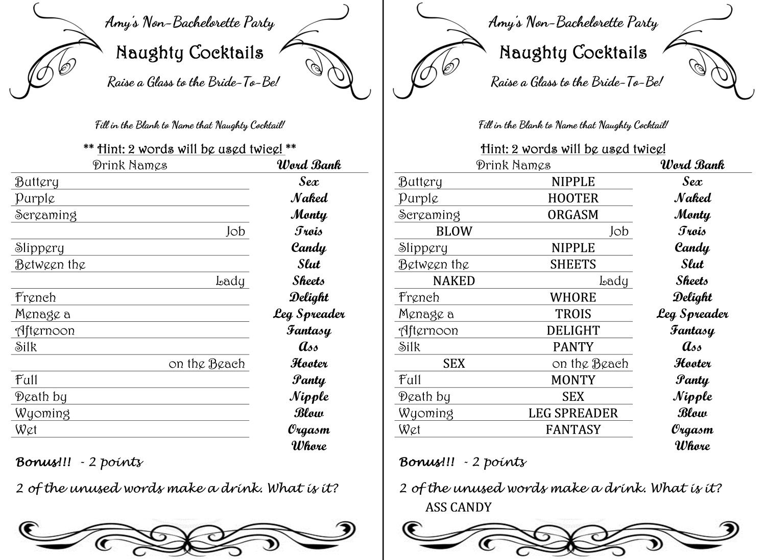 Naughty Cocktails Fill In The Blanks To Name Drinks With Dirty Names inside Bachelorett Fill In Blank Templets