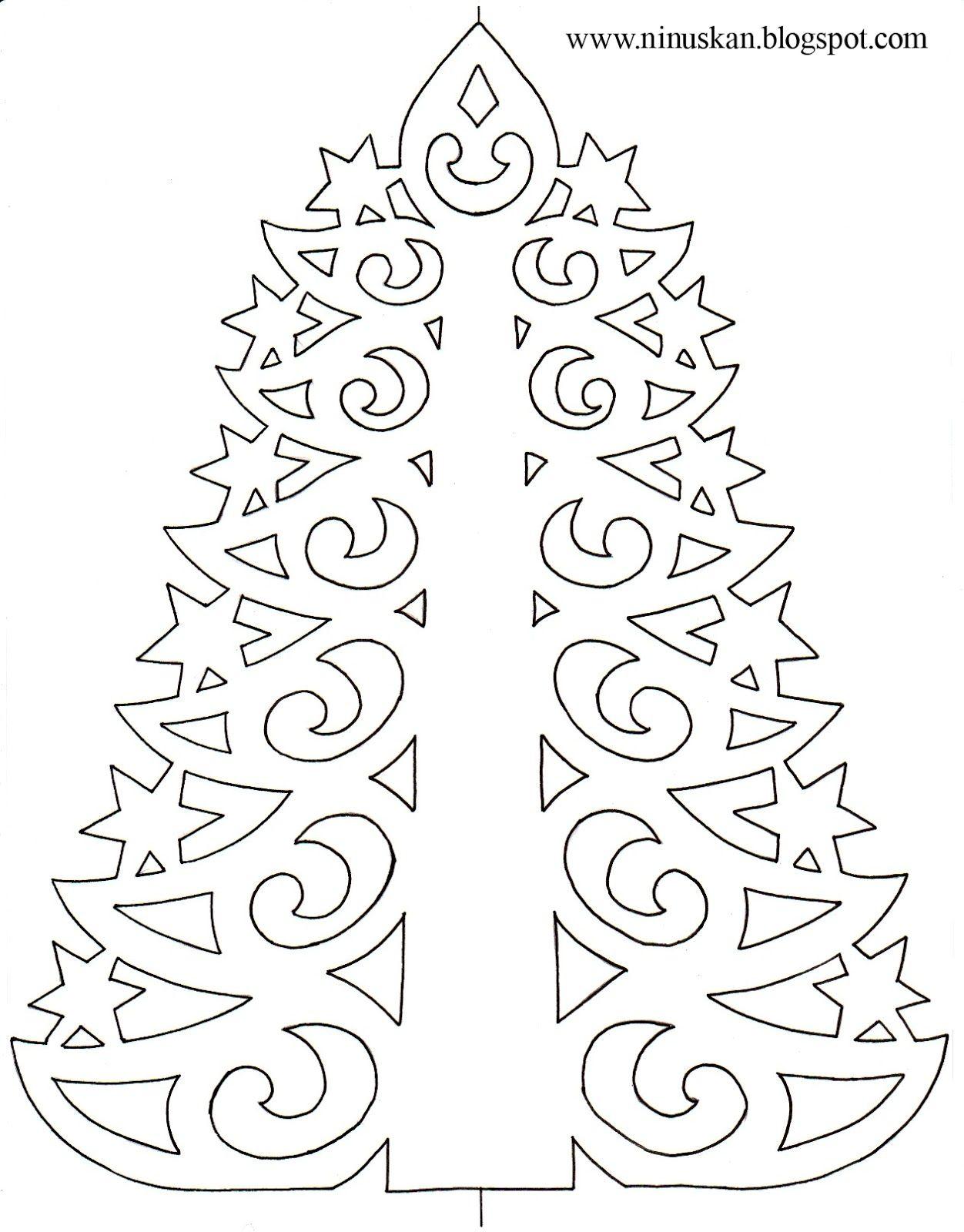 Ninuska: Pitsinen Paperikuusi / Paper Lace Tree Template | Crafty regarding Printable Christmas Tree Templates 3D