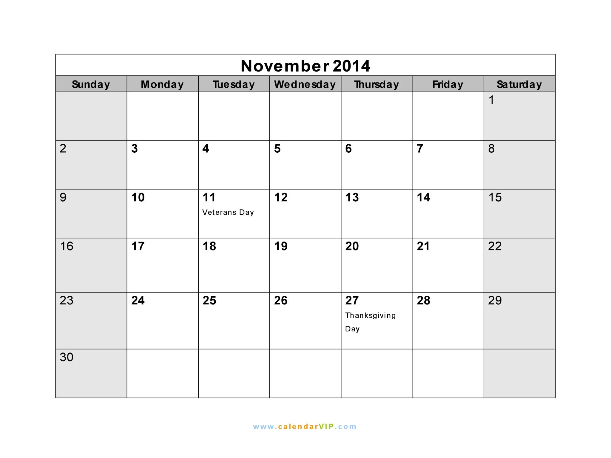 November 2014 Calendar - Blank Printable Calendar Template In Pdf within Microsoft November Calendar Templates