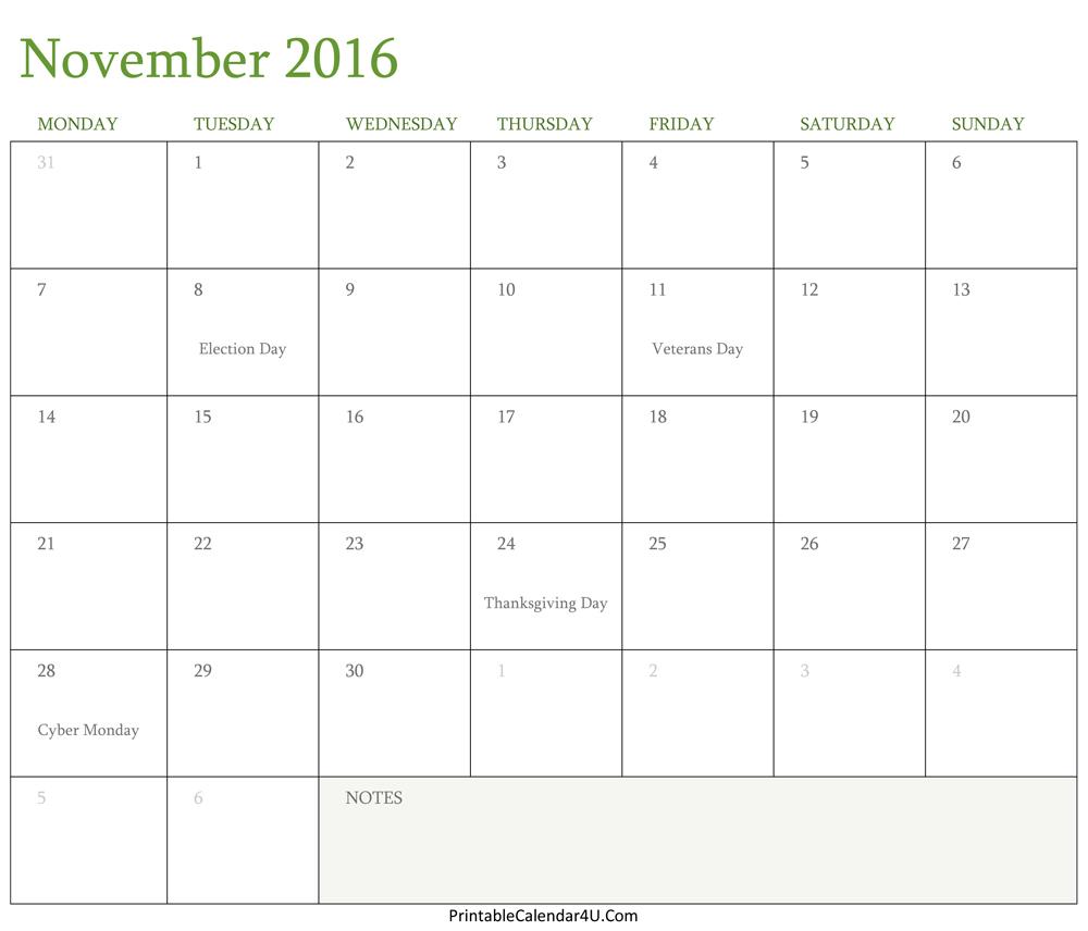 November 2016 Calendar Editable intended for November Calendar Templates Editable