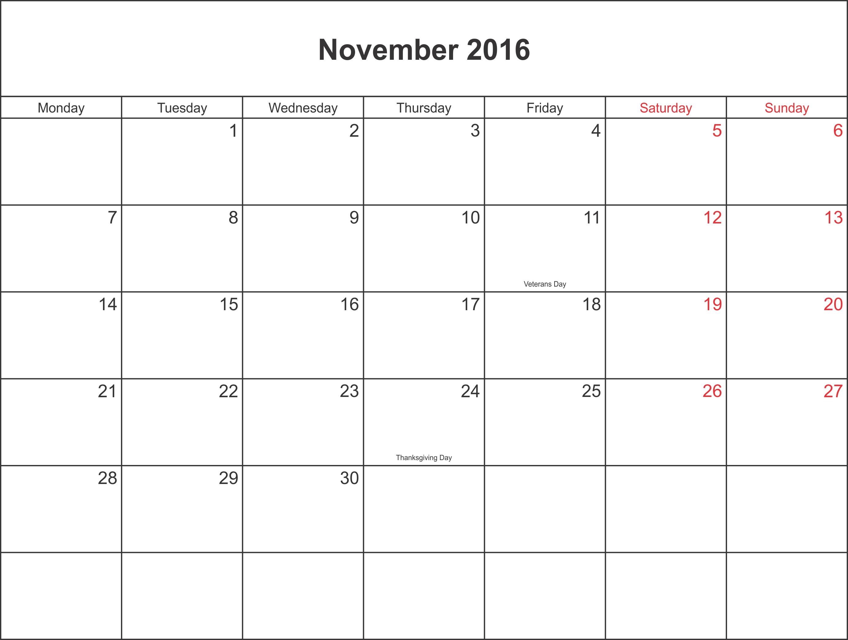November 2016 Calendar Printable With Holidays with regard to Holidays Calendar Templates November