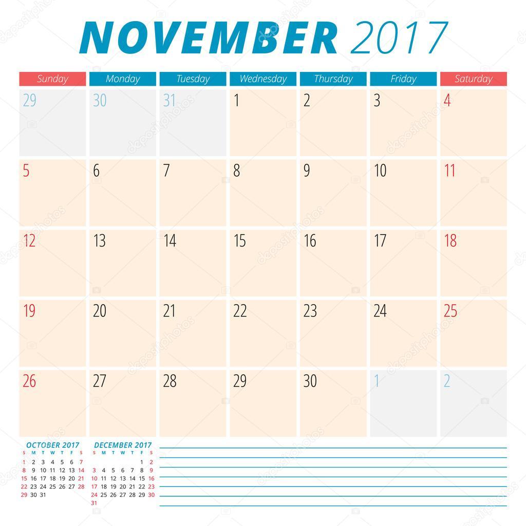 November 2017. Calendar Planner For 2017 Year. Week Starts Sunday regarding Monday To Sunday Calendar Template November