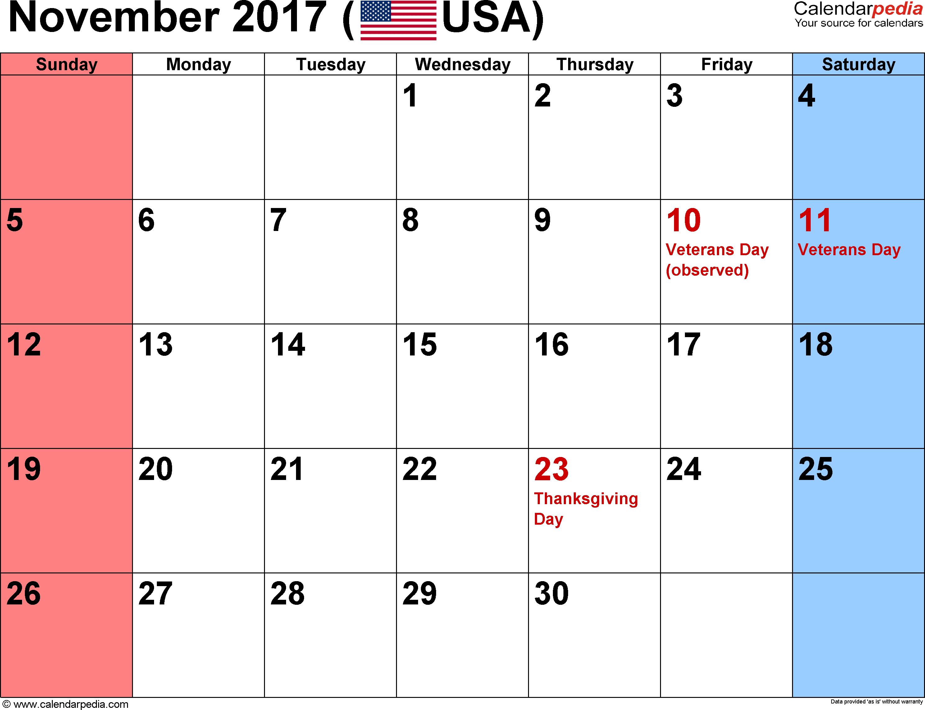 November 2017 Calendars For Word, Excel & Pdf for Holidays Calendar Templates November