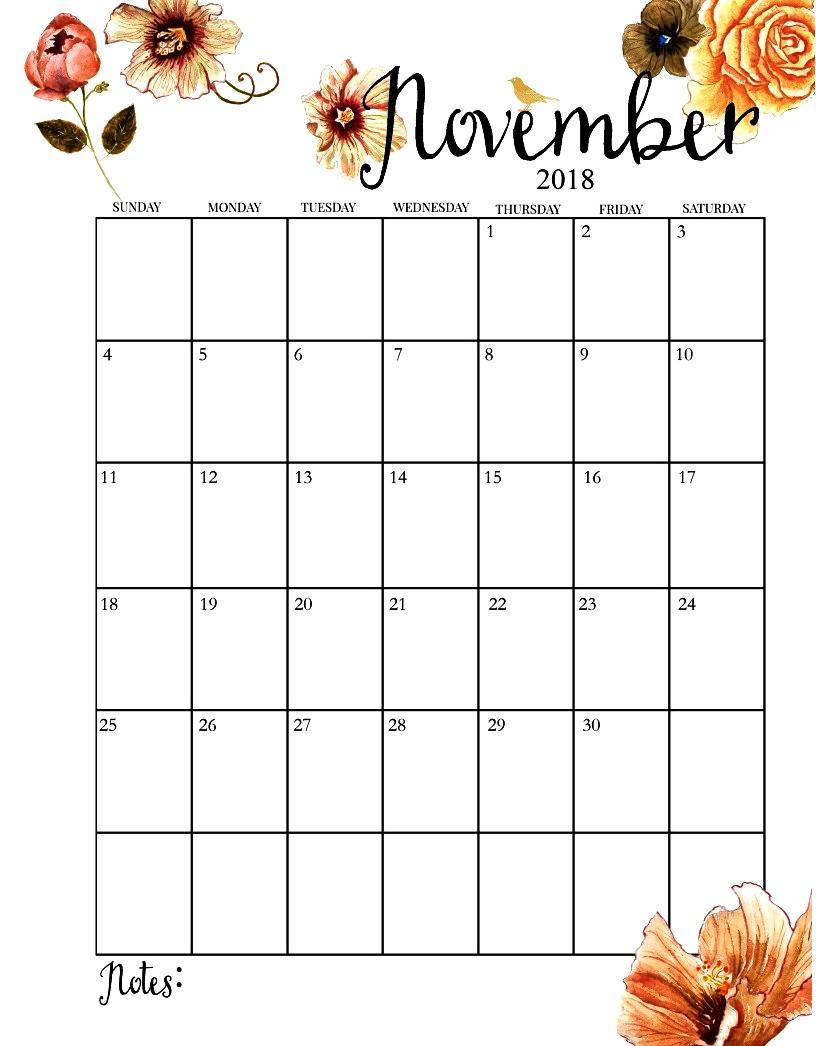 November 2018 Calendar Portrait - November Calendar for November Calendar Template Free