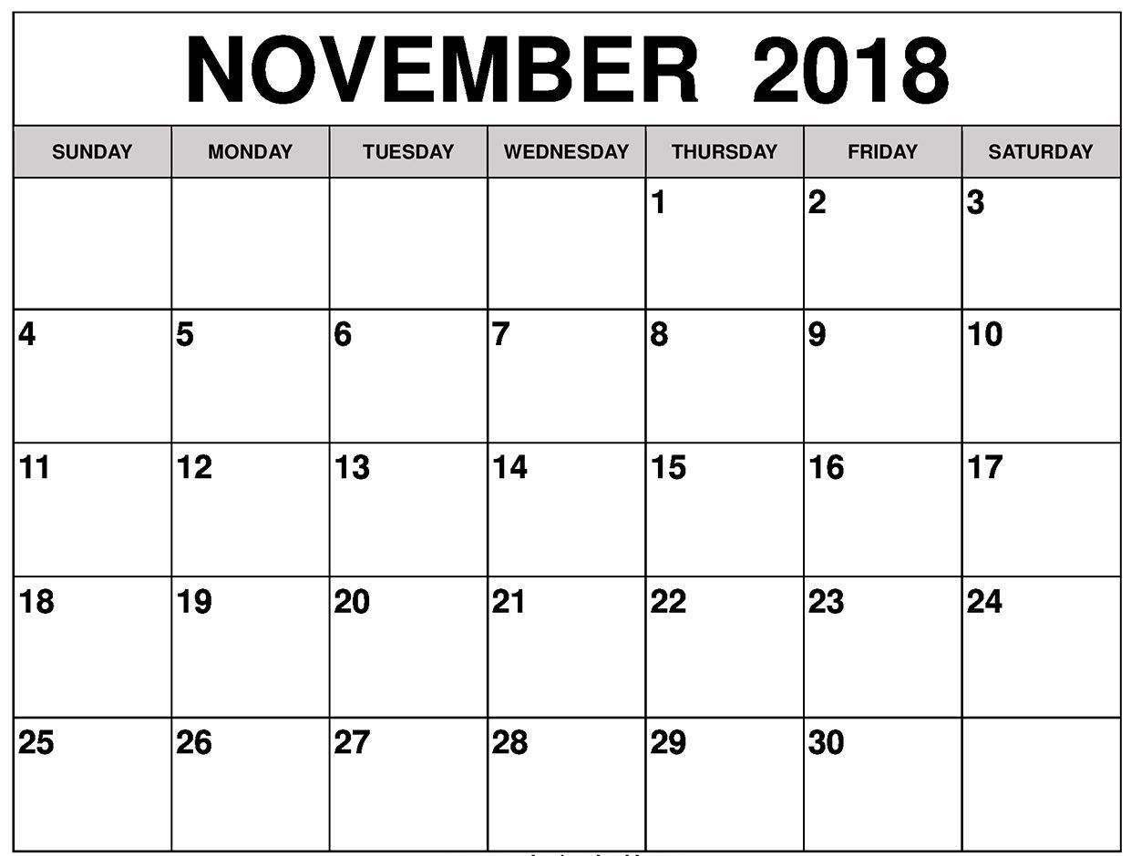 November 2018 Calendar, Printable, Blank Template, Pdf, Word, Excel regarding Blank Printable November Calendar