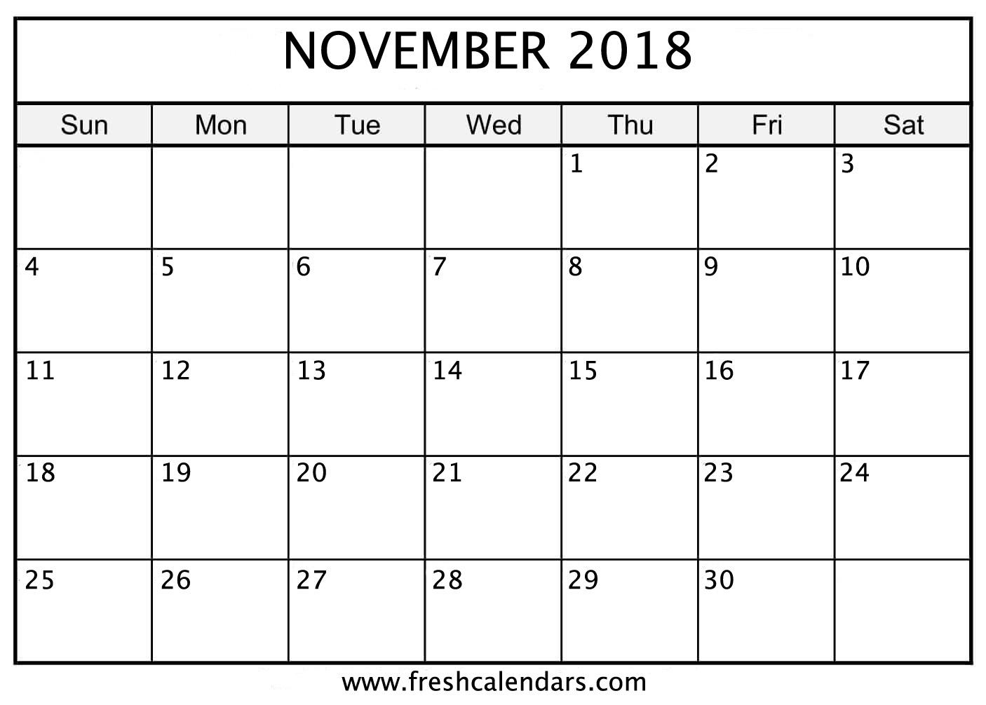 November 2018 Calendar Printable - Fresh Calendars intended for Monday To Sunday Calendar Template November