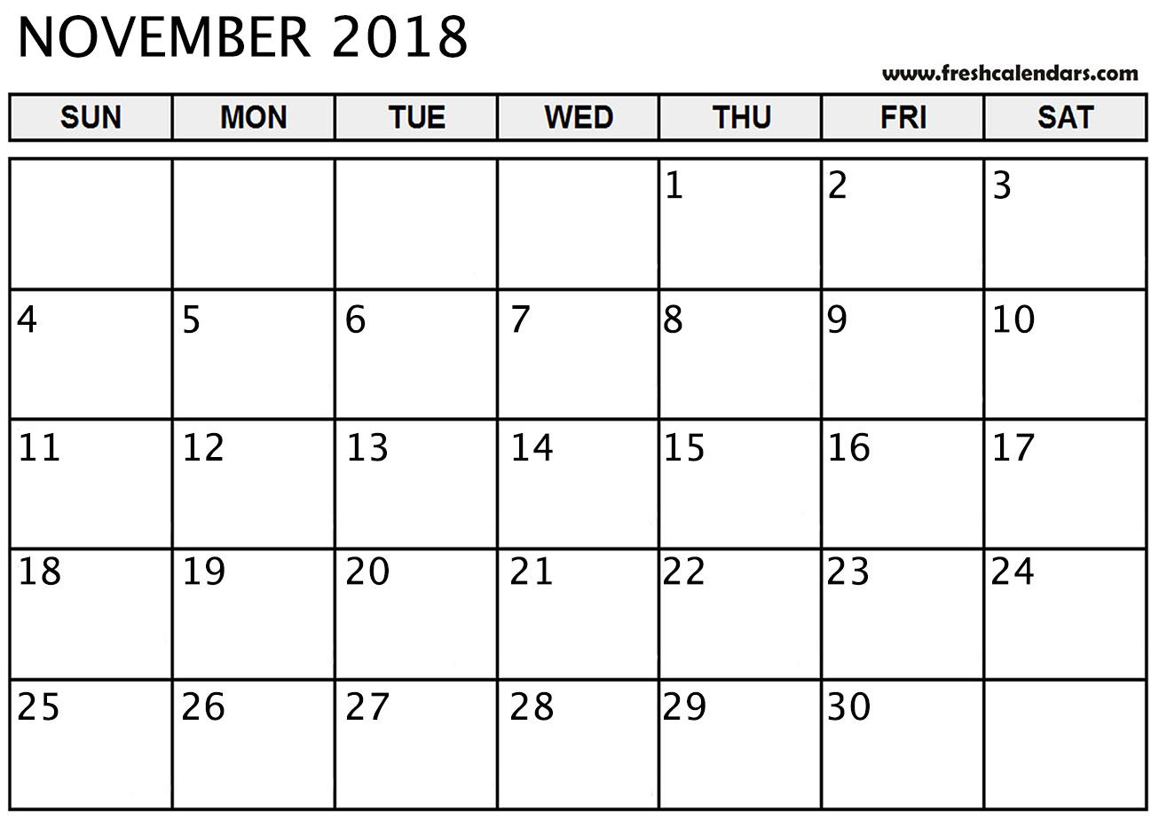 November 2018 Calendar Printable - Fresh Calendars intended for November Calendar Template Free