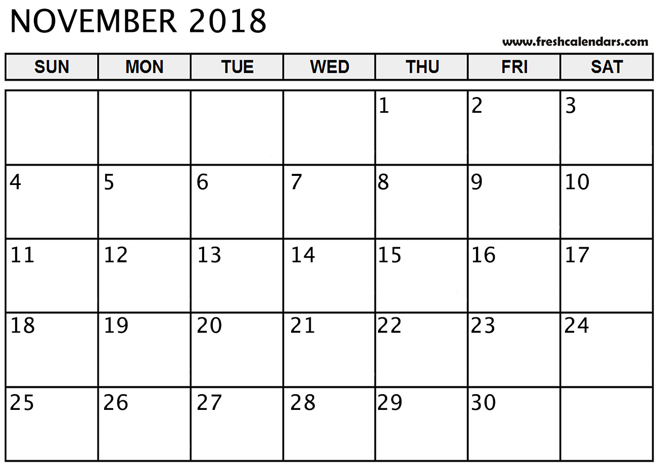 November 2018 Calendar Printable - Fresh Calendars within Blank Calendar Template November