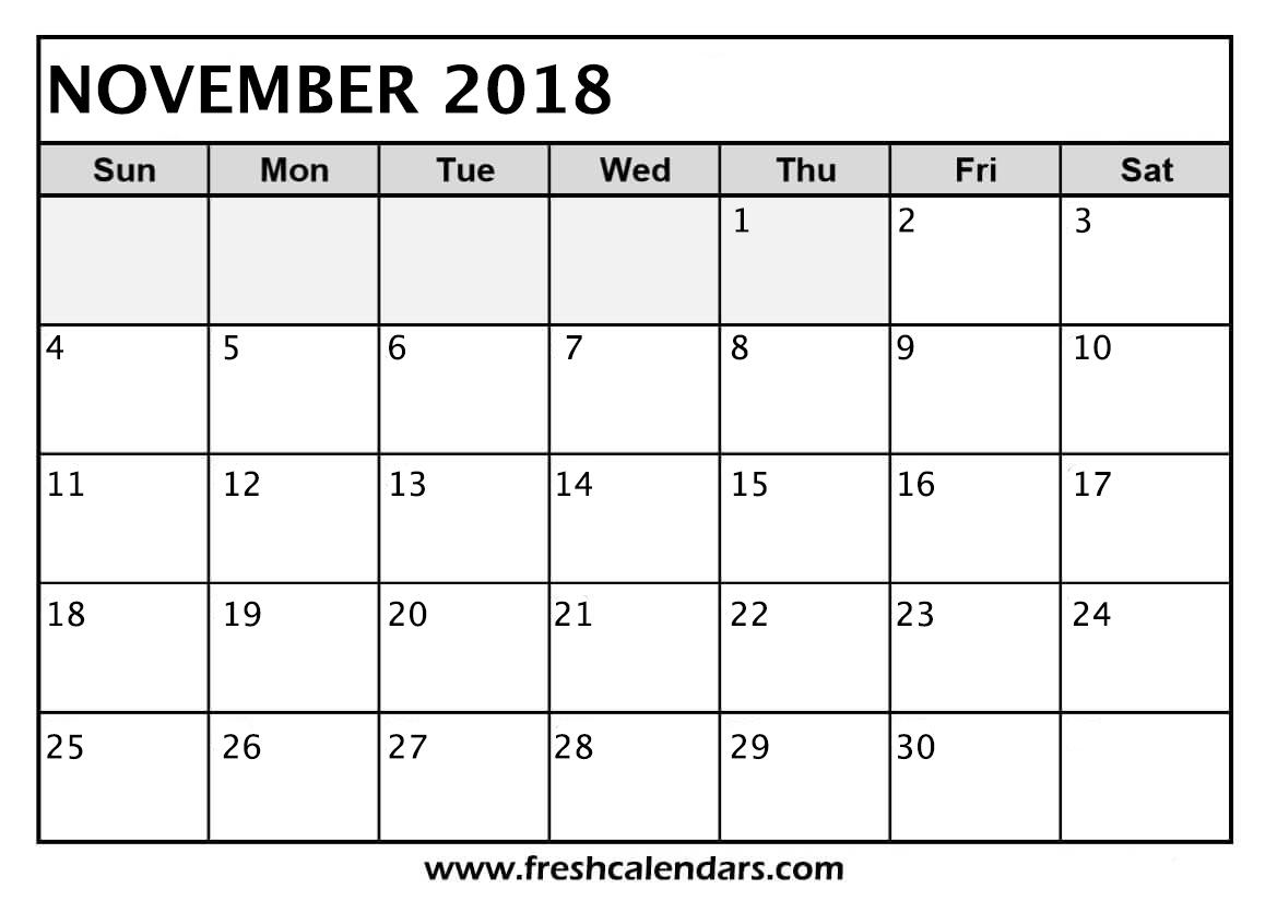 November 2018 Calendar Printable - Fresh Calendars within Microsoft November Calendar Templates