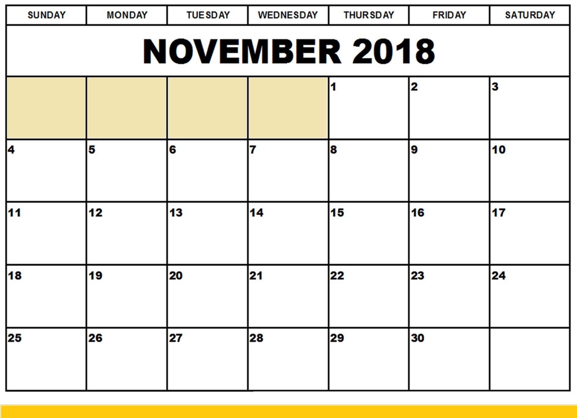 November 2018 Calendar Printable Templates Free Download inside November Calendar Template Free