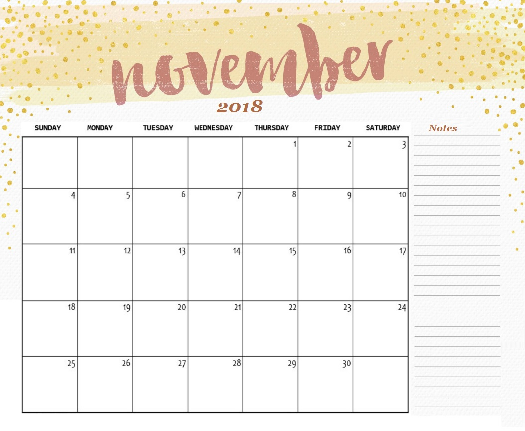 November 2018 Calendar Printable With Holidays pertaining to Cute Blank Calendar Page Template