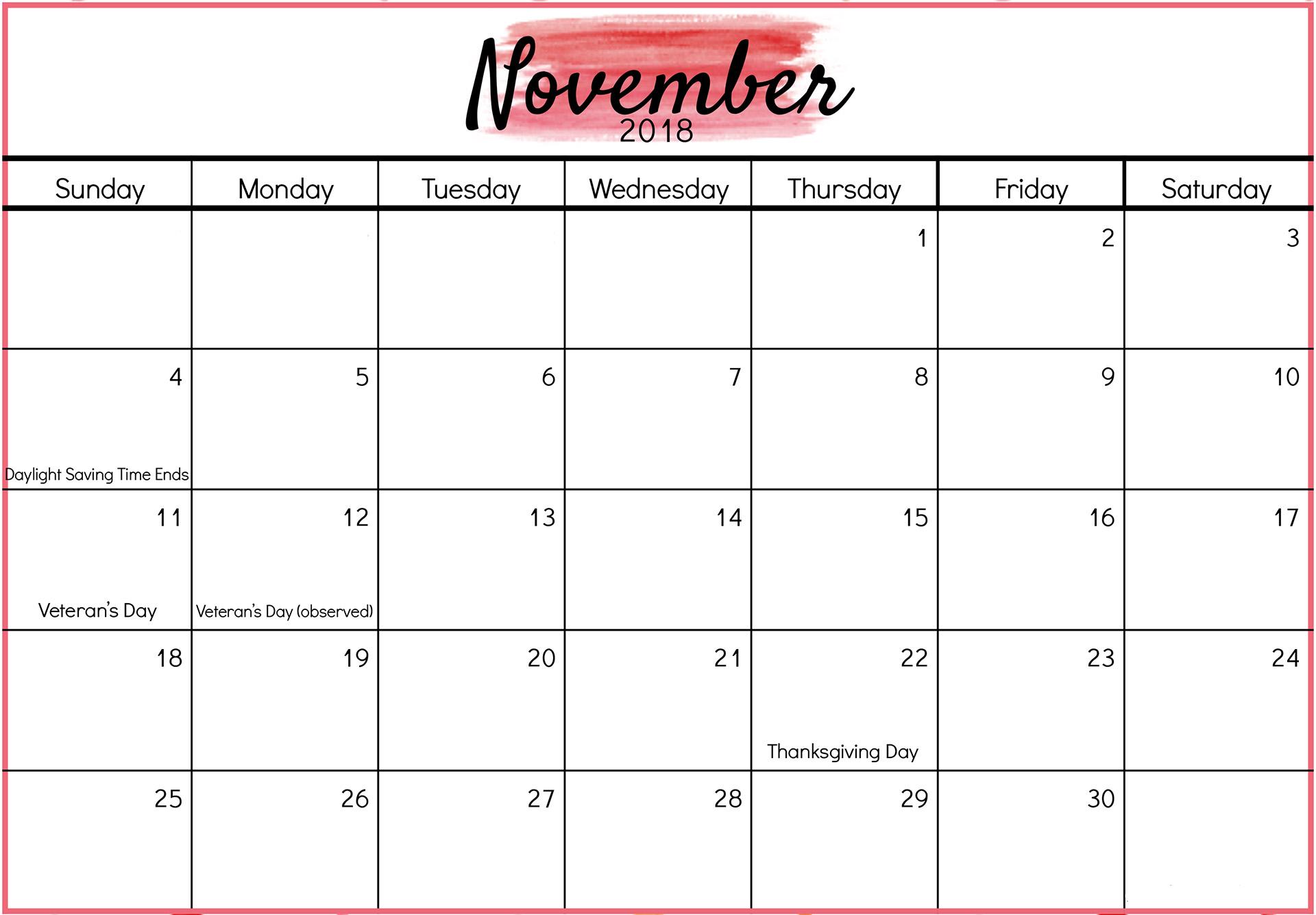 November 2018 Calendar Template pertaining to Holidays Calendar Templates November