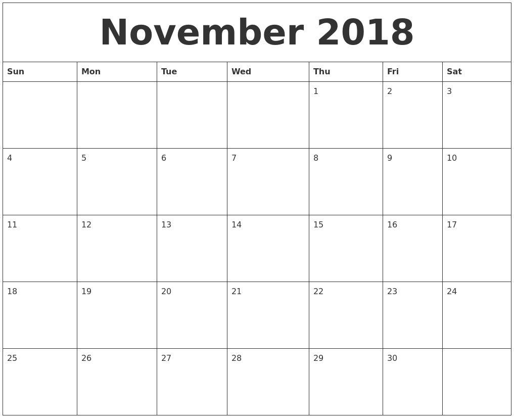 November 2018 Calendar Templates Free inside November Calendar Template Free