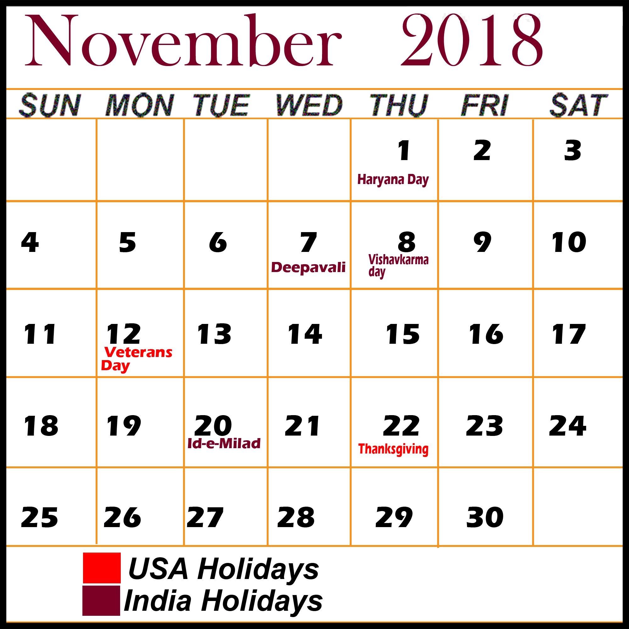 November-2018-Calendar-With-Holidays-Template - November Calendar throughout Holidays Calendar Templates November