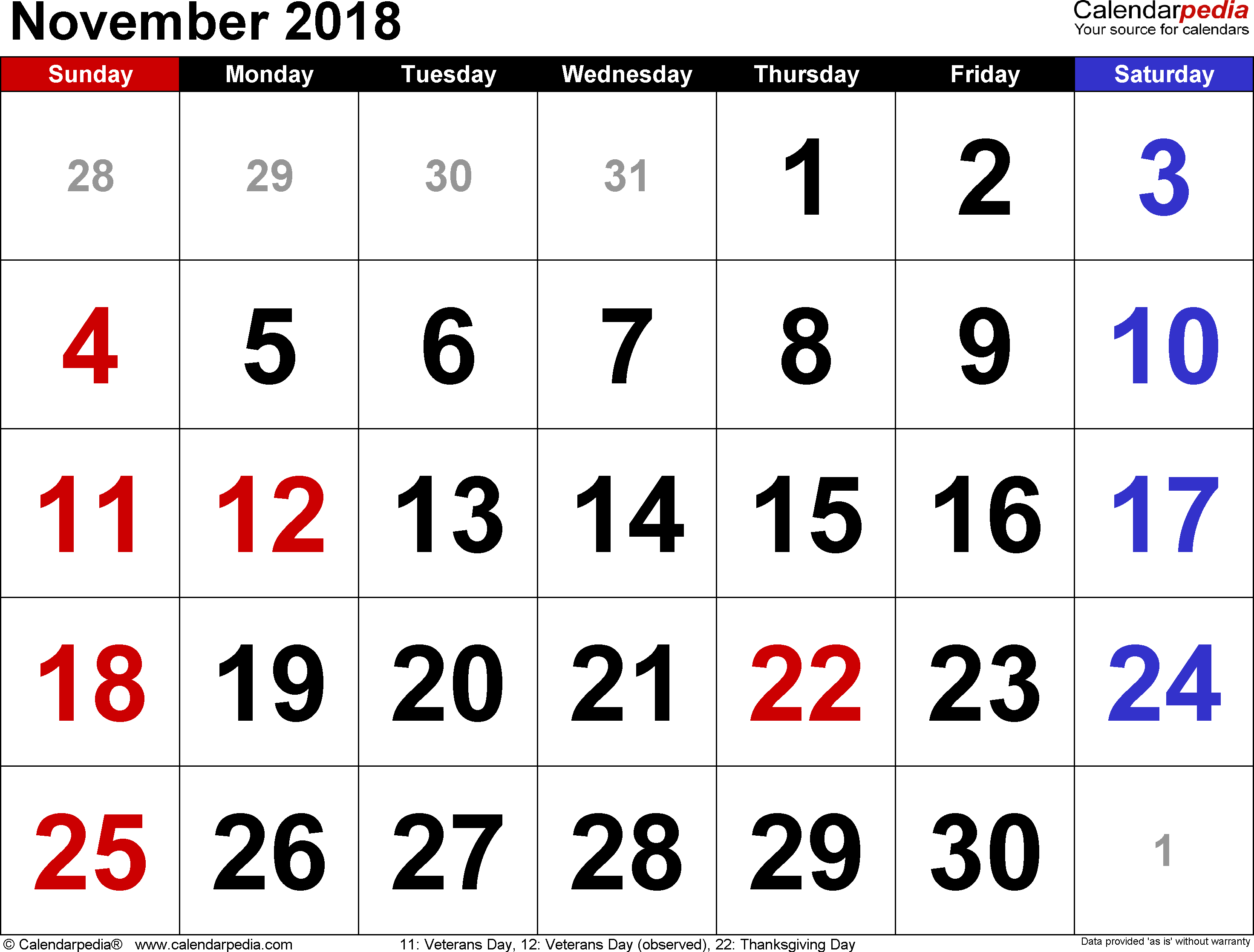 November 2018 Calendars For Word, Excel & Pdf regarding Holidays Calendar Templates November