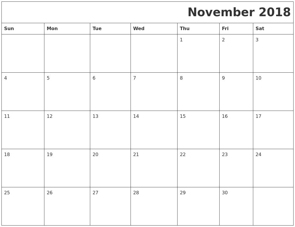 November 2018 Printable Calender throughout Monday To Sunday Calendar Template November