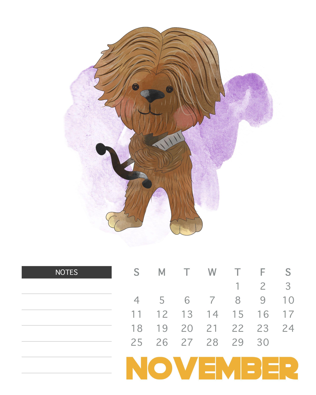 November 2018 Star Wars Calendar | Monthly Wallpaper Calendars In with Star Wars Templates Printables Calendar