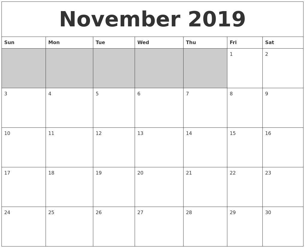 November 2019 Blank Printable Calendar throughout Blank Printable November Calendar