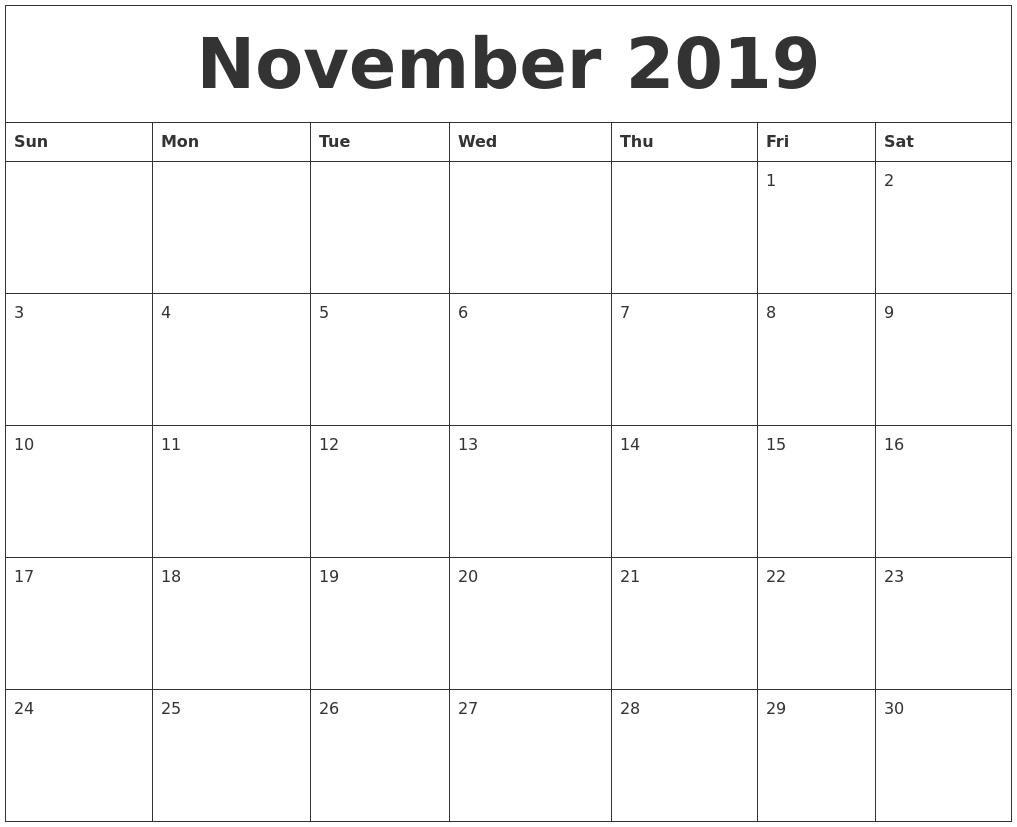 November 2019 Calendar for Blank Calendar Template November