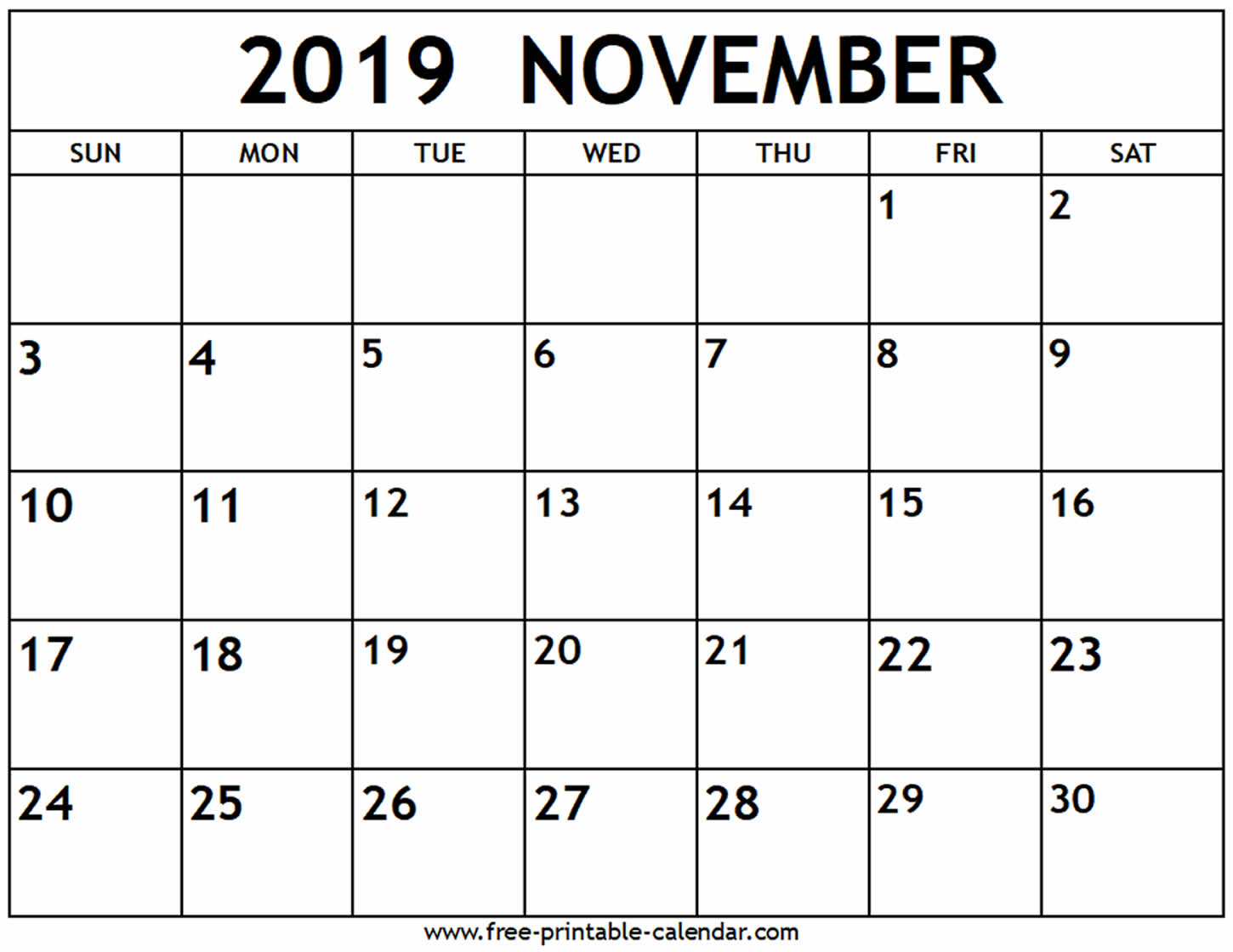 November 2019 Calendar - Free-Printable-Calendar with Blank Calendar Template November