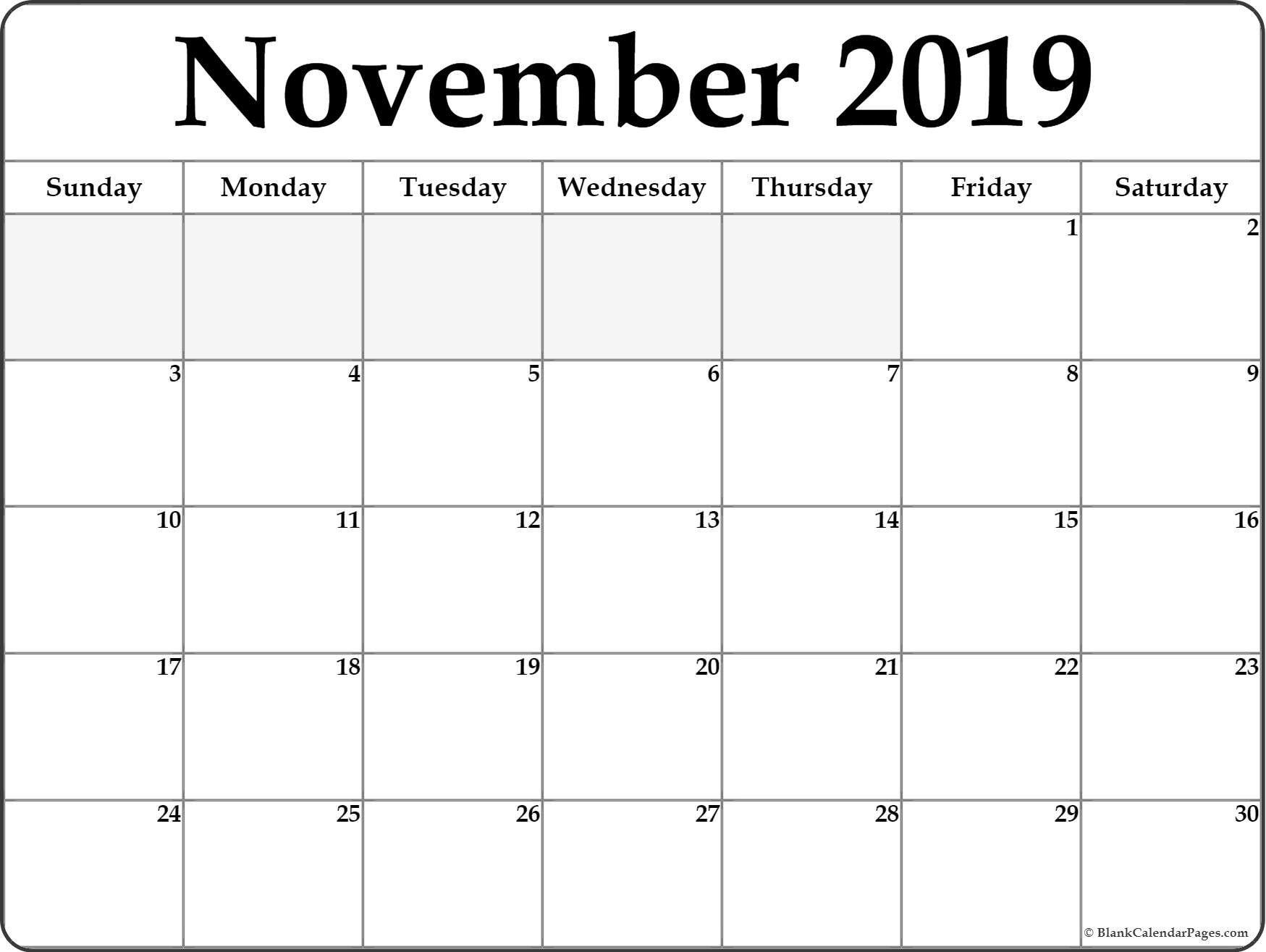 November 2019 Calendar #november #november2019 #november2019Calendar throughout Nov Calendar Printable Template