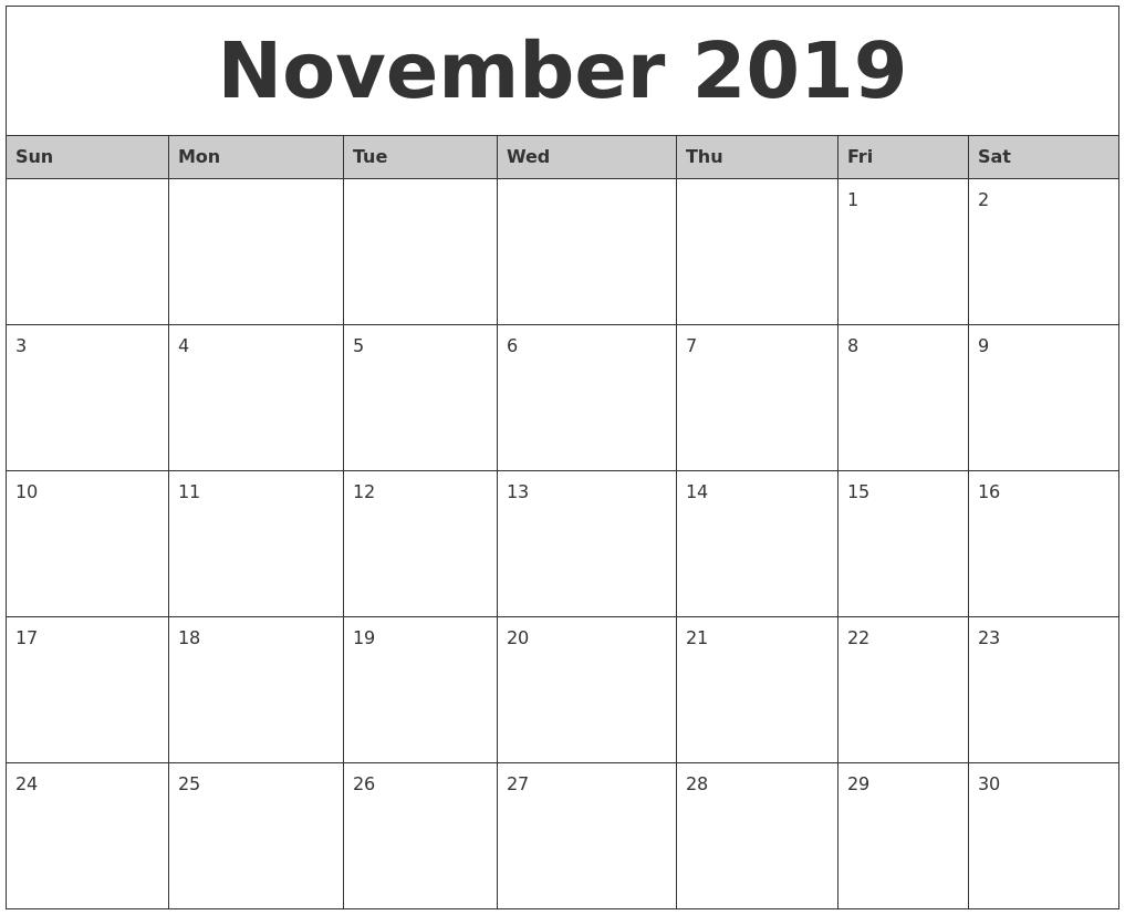 November 2019 Calendar Template – Printable Week Calendar inside Microsoft November Calendar Templates