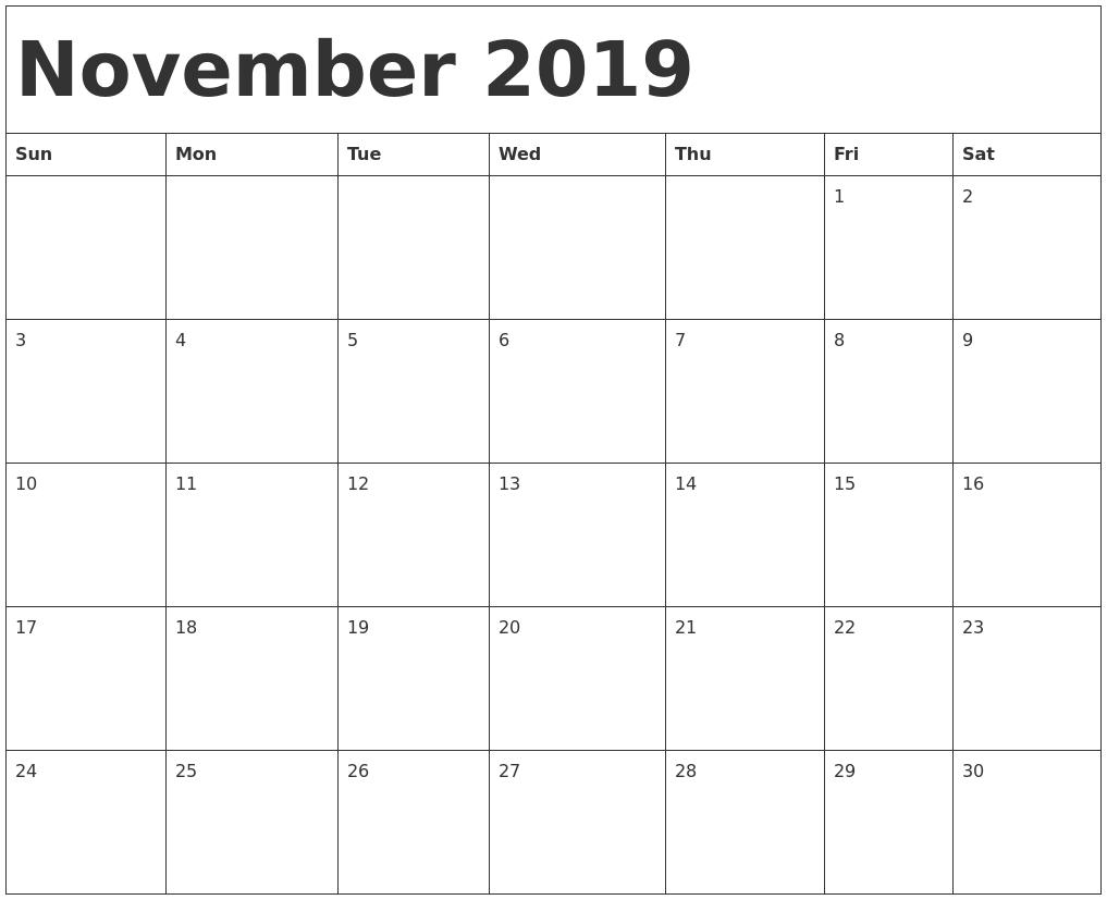 November 2019 Calendar Template regarding Monday To Sunday Calendar Template November