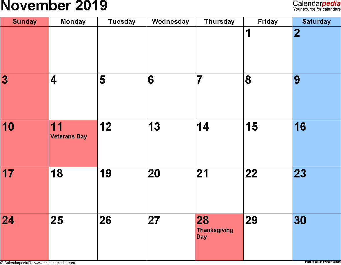November 2019 Calendars For Word, Excel & Pdf for Holidays Calendar Templates November
