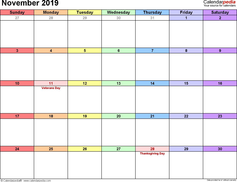 November 2019 Calendars For Word, Excel & Pdf with regard to November Calendar Templates Editable