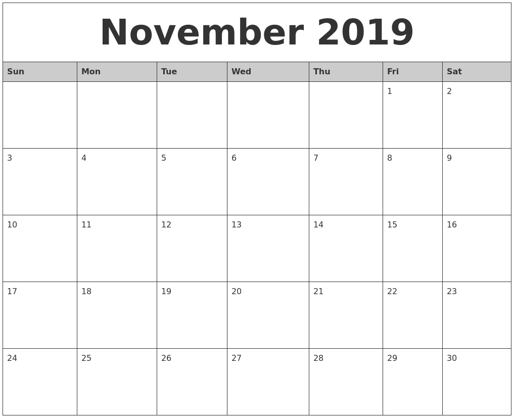 November 2019 Monthly Calendar Printable for Blank Calendar Template November