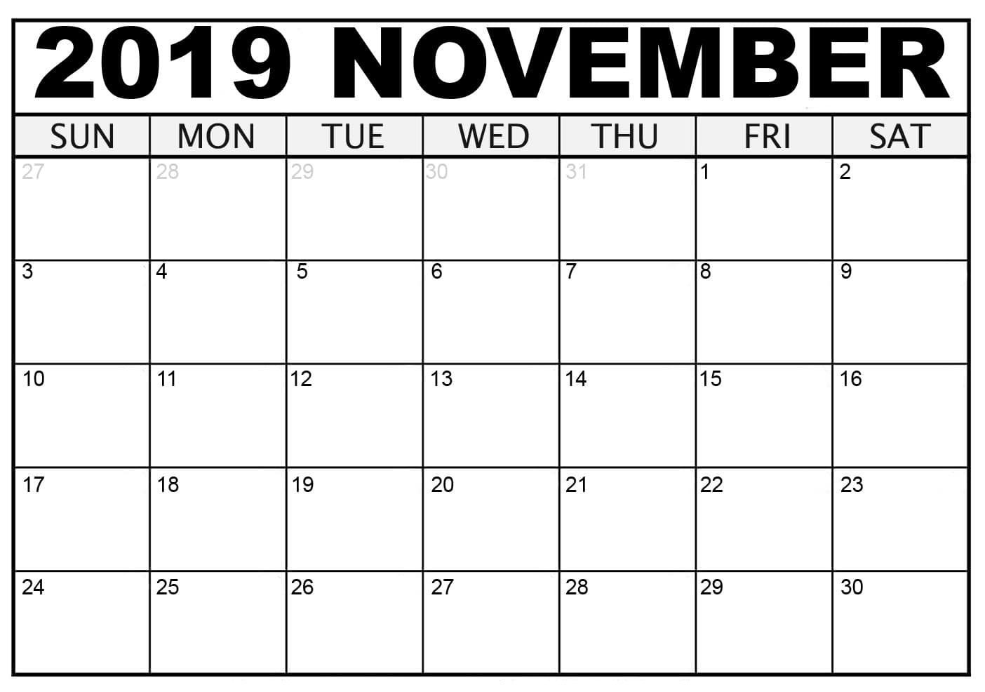 November 2019 Printable Calendar - Free Blank Templates - Calendar intended for Free 8/2019 -5/ 2020 Printable Calendar