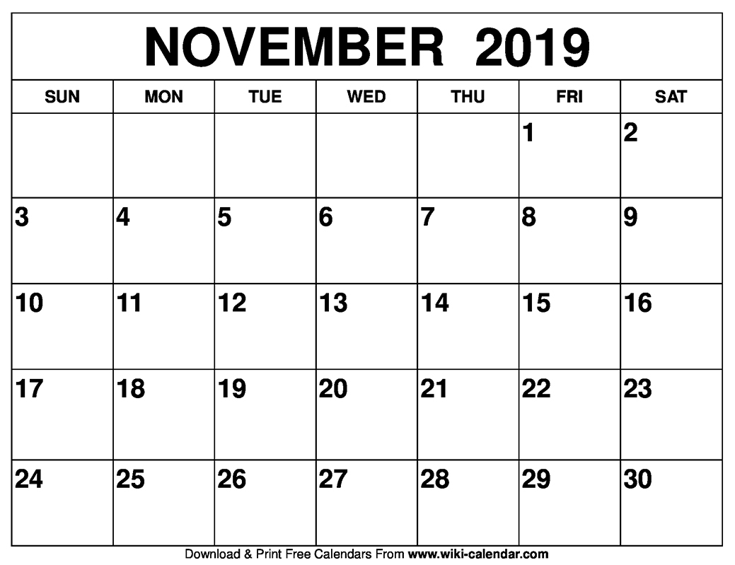 November 2019 Printable Calendar - Free Blank Templates - Calendar throughout Free 8/2019 -5/ 2020 Printable Calendar
