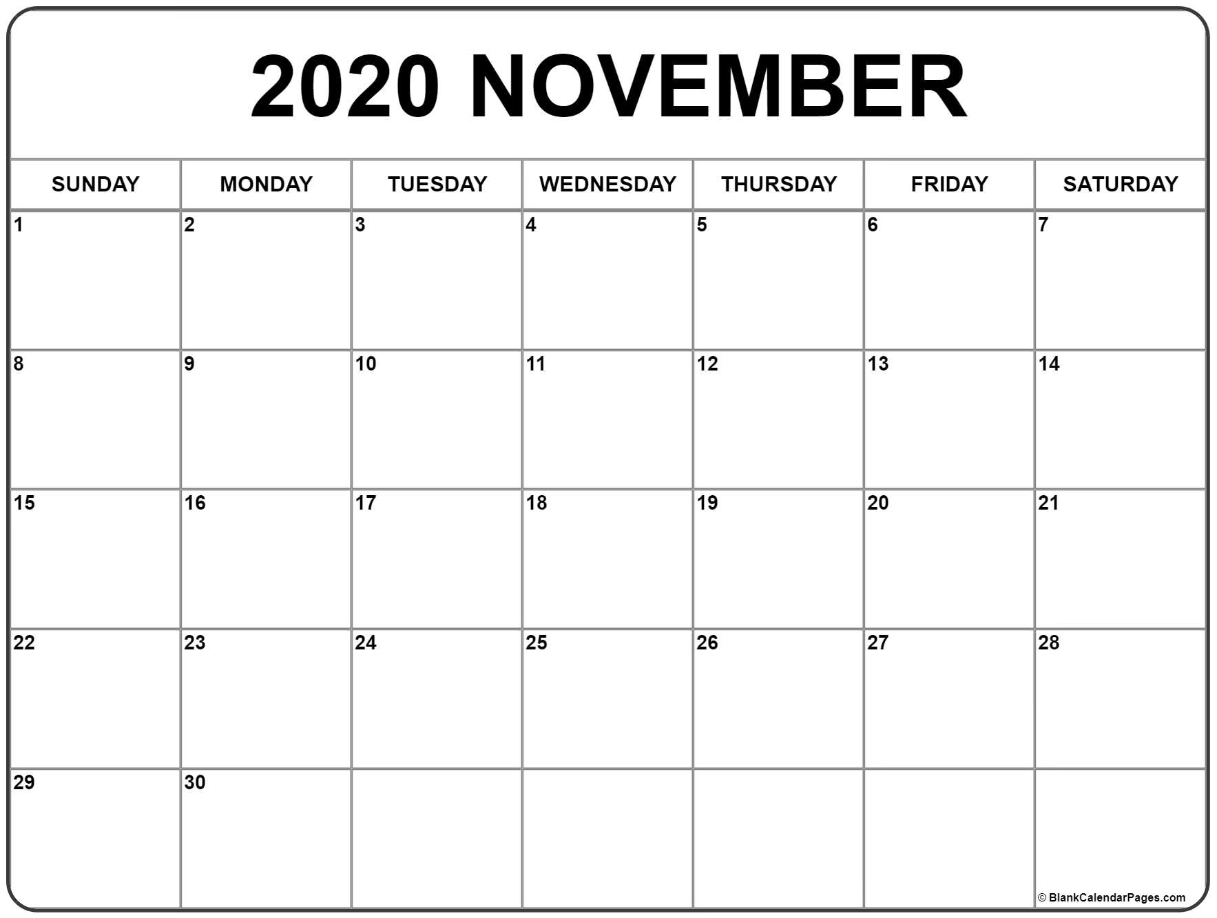 November 2020 Calendar | Free Printable Monthly Calendars in 2020 Calander To Write On