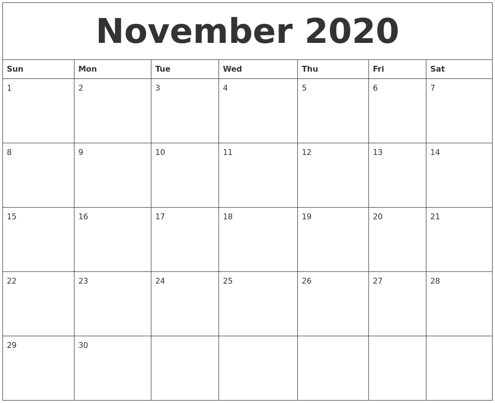 November 2020 Editable Calendar Template with regard to November Calendar Templates Editable