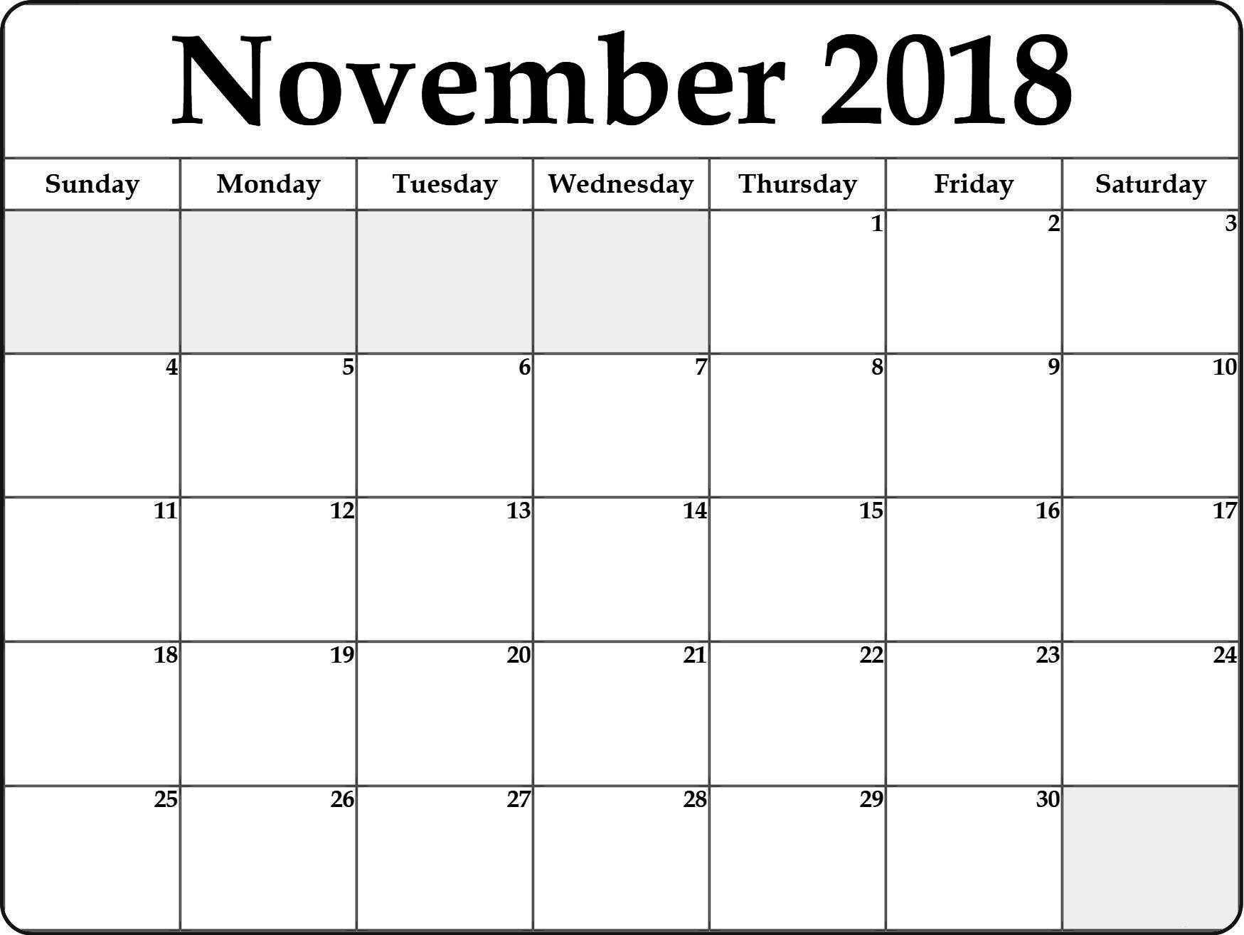 November Calendar 2018 In Pdf, Word, Excel Printable Template within Blank Calendar For November And December