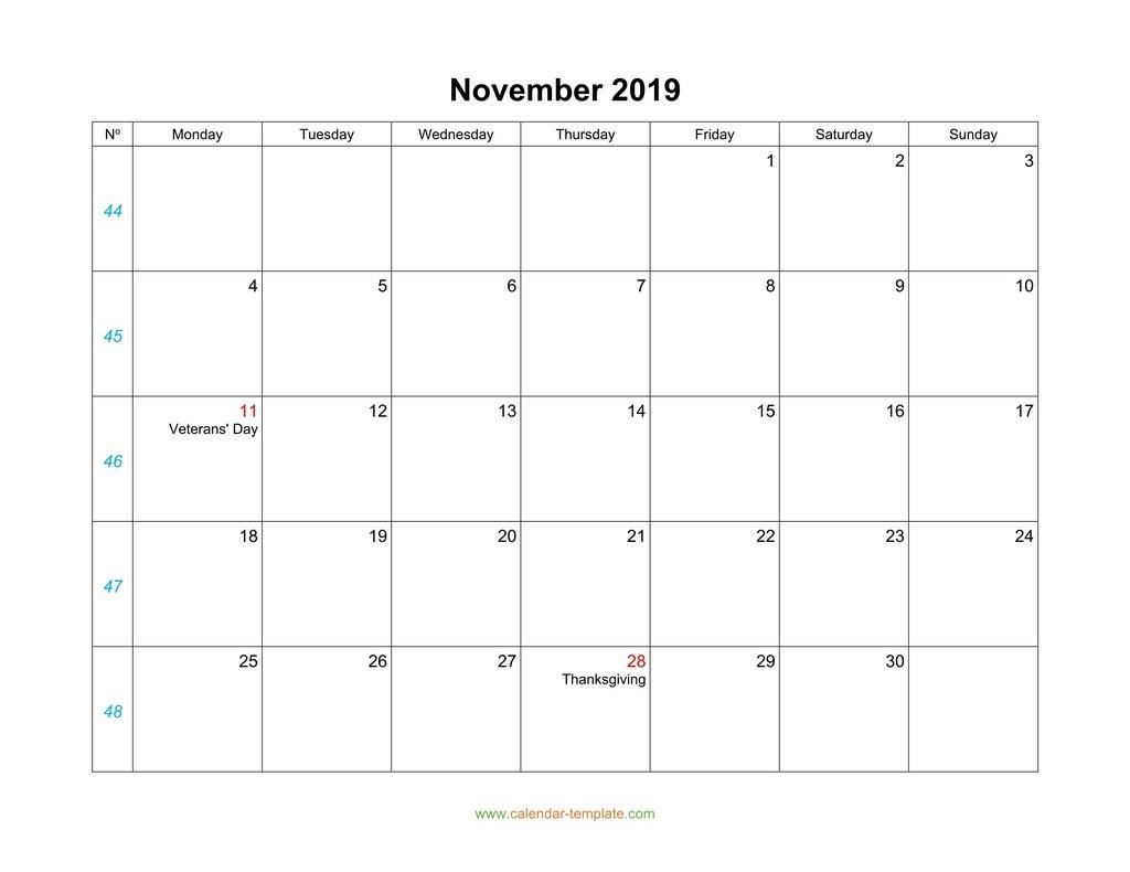 November Calendar 2019 Blank Template in Monday To Sunday Calendar Template November