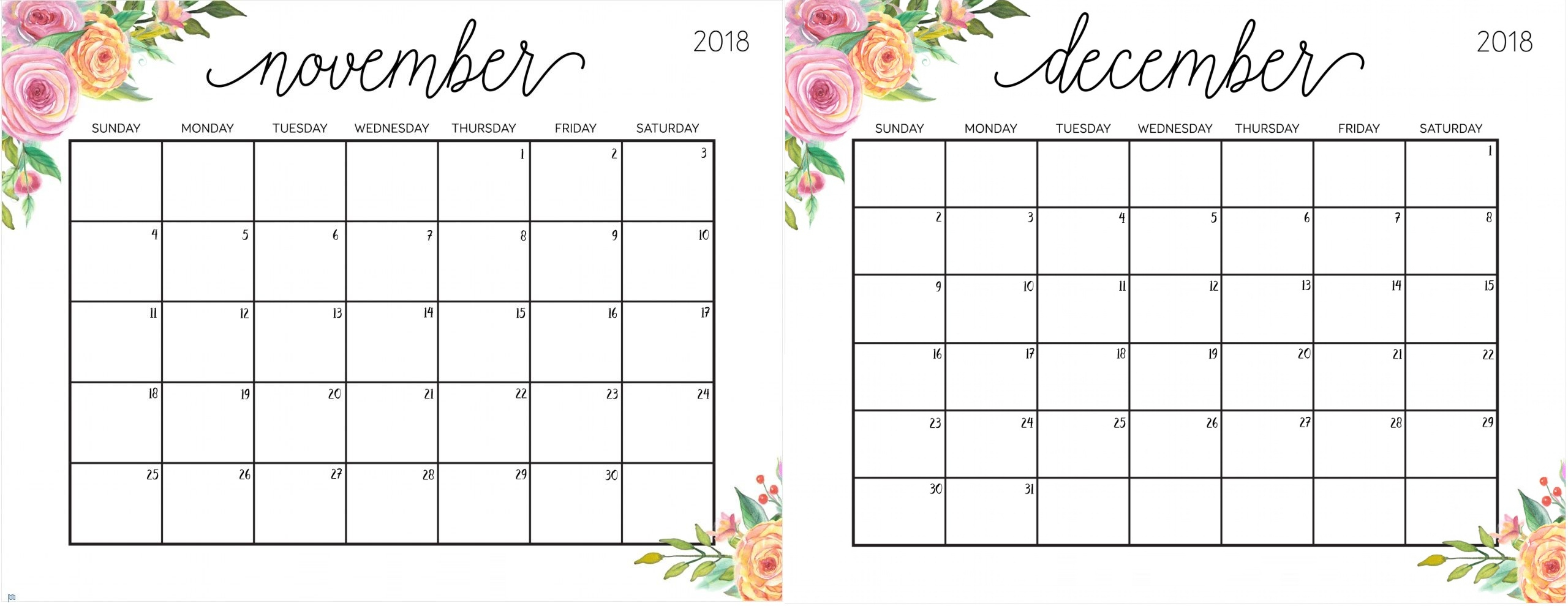 November December 2018 Calendar Printable Free - Printable Calendar intended for Blank Calendar For November And December